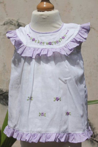White n Violet Dress with Frilled Round Collar