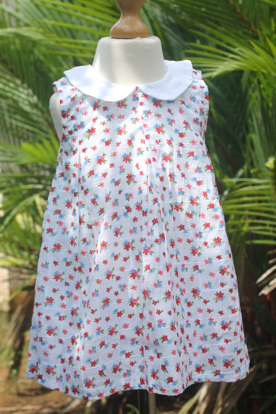 Pink n Blue Printed Flower Dress with White Collar