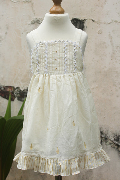 Smocked Yoke Kerala Dress with Gold Motifs