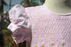 Smocked Baby Pink Dress with Puffed Sleeves.