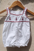 Embroidered Anchor on Sleeveless White Romper