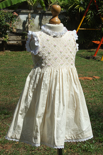 Pale Yellow Smocked Frilly Sleeveless Dress