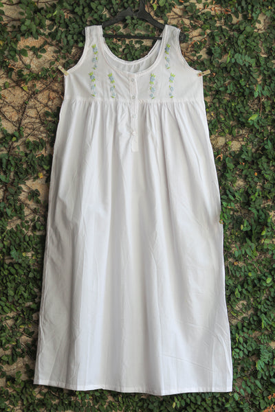 White Cotton Hand Embroidered Ladies Nightwear