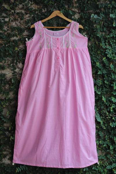 Pink Cotton Embroidered Ladies Nighty
