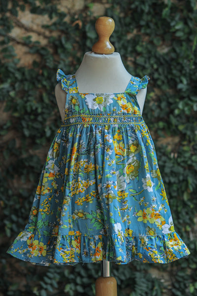 SMOCKED PRINTED FLORAL  COTTON DRESS
