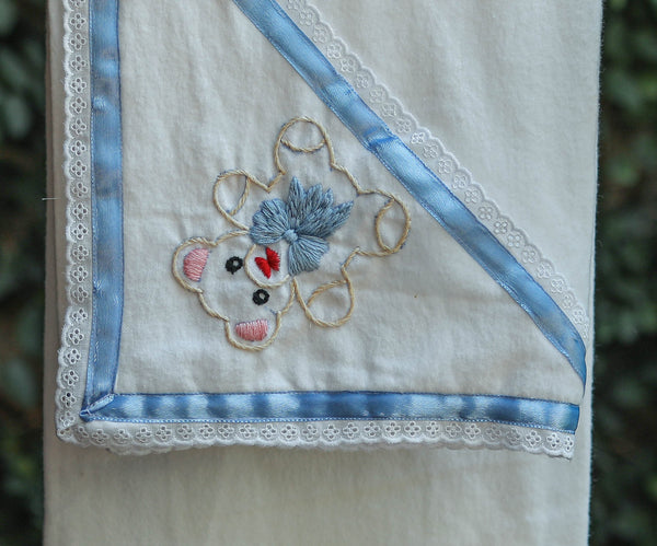 White Cotton Flannel with Embroidered Hood