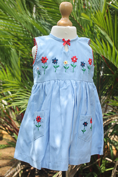 Flowers n Bow Blue Cotton Dress