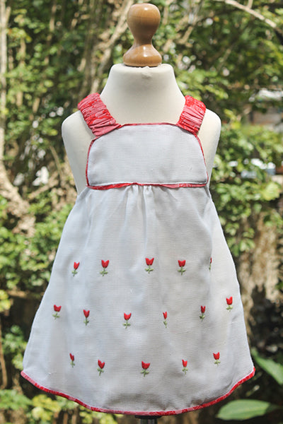 Red n White Embroidered Fabric Dress