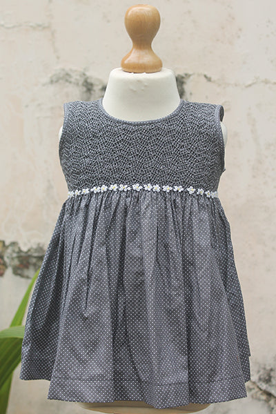 Sleeveless Grey Dress with White Flowers