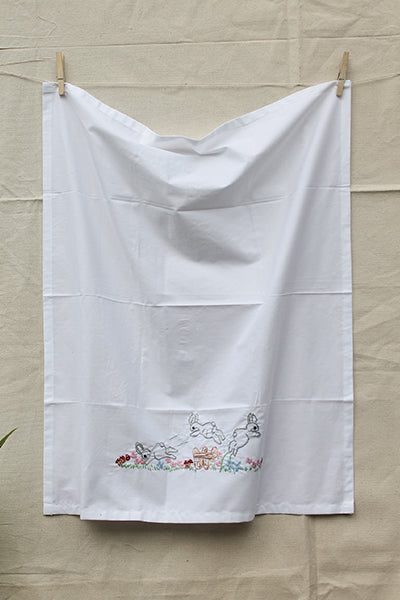 Jumping Rabbits over Fence Cotton Sheet