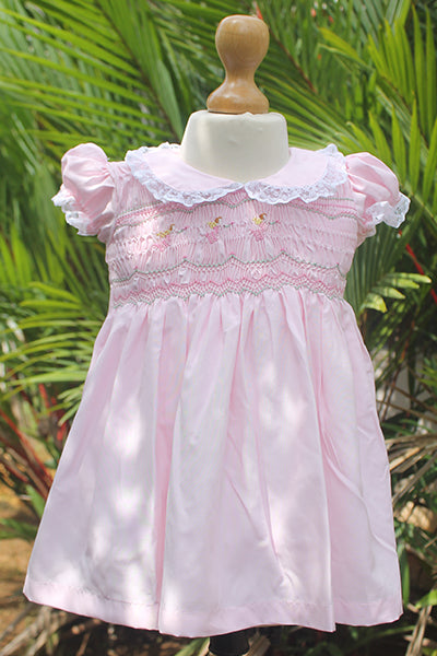 Pink Dress with Embroidered Sailor Collar