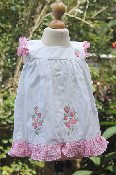 White n Pink Gingham Strawberry Dress