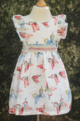 Smocked Waist with  Printed Butterfly Cotton Dress