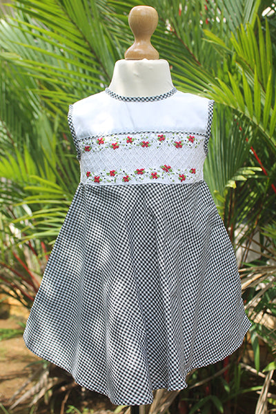 Black n White Gingham Dress with Smocked Bib