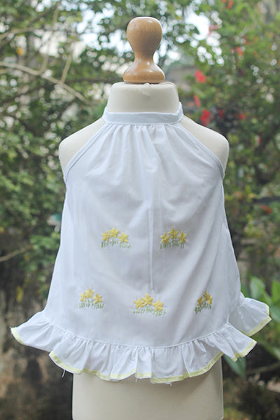 Embroidered Pinny Set with Satin Ribbon Edging
