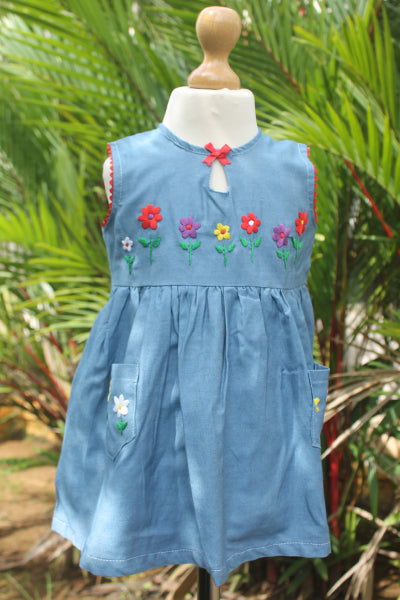 Flowered Blue  Dress with Red Bow