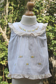 4 Petal Flowers Embroidered Cotton Dress