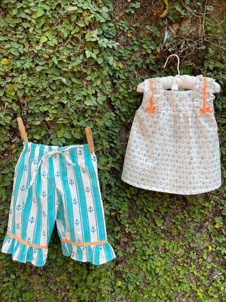 Anchor Blue - Little Girls Cotton Pyjama Set