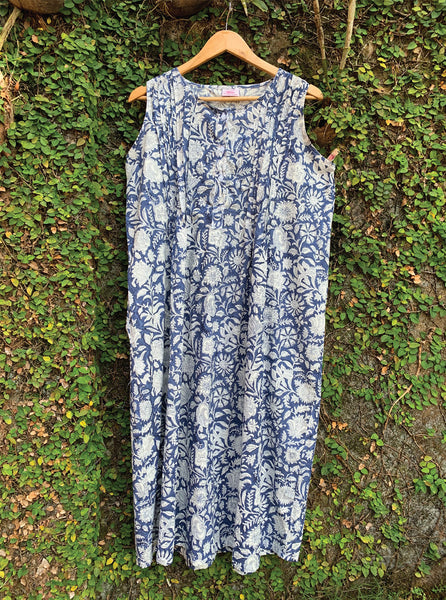 Floral Blue Block Print Cotton Nighty