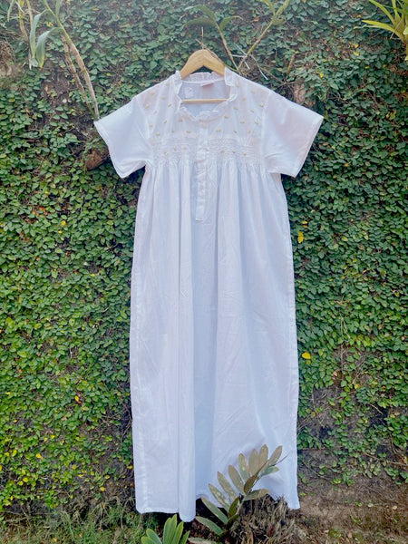 Cotton White Collar Smocking Buds Nighty - Front Open