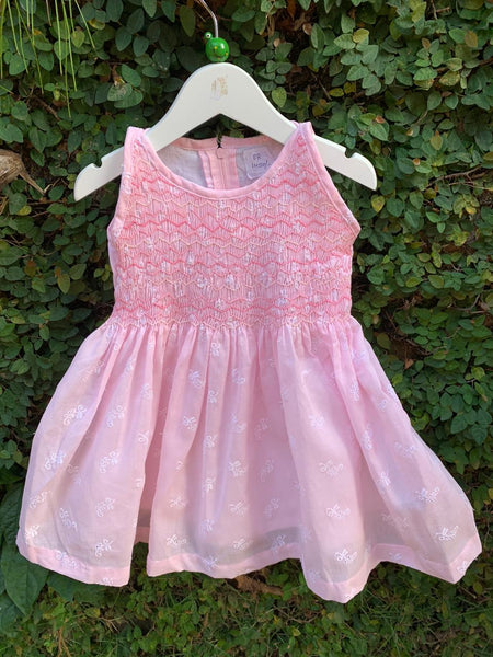 DAISY PINK SLEEVELESS SMOCK DRESS