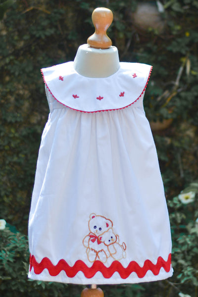 WHITE DRESS WITH EMBROIDERED TEDDY BEAR