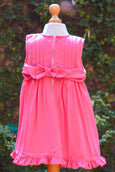 PINK PLEATED DRESS WITH SASH