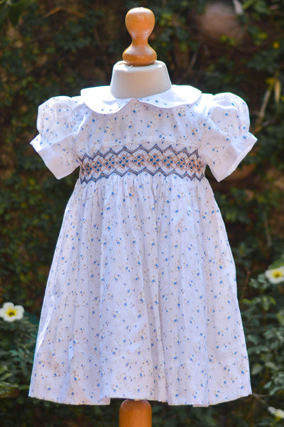 FLORAL PRINTED SMOCKED COTTON DRESS