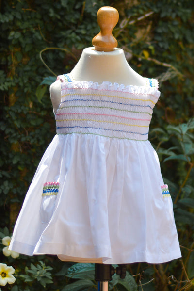 WHITE DRESS WITH MULTICOLOR SMOCK