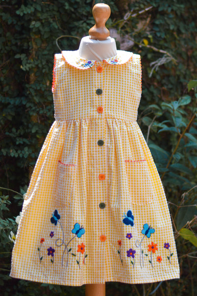 VIBRANT FRONT OPEN DRESS WITH BUTTONS