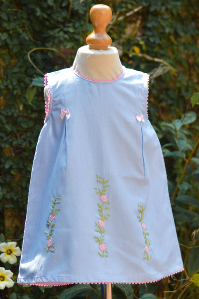 PINK N BLUE BOW COTTON DRESS