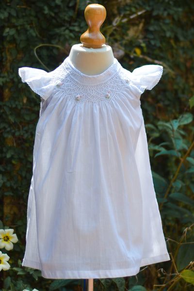 BISHOP SMOCKED COTTON WHITE DRESS