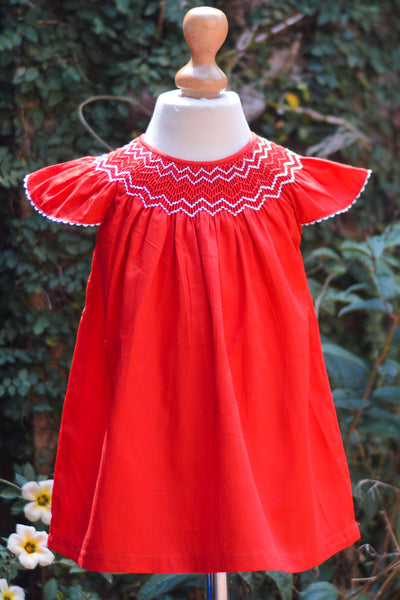 BISHOP SMOCKED RED DRESS