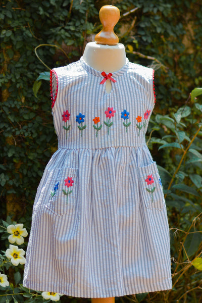 STRIPED SEER SUCCOUR  DRESS
