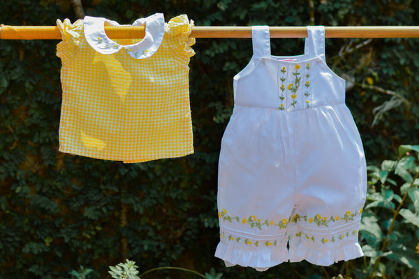 WHITE N YELLOW EMBROIDERED PLAYSUIT