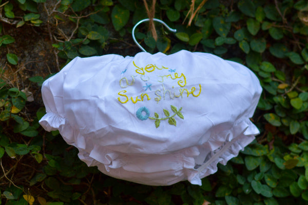 DIAPER COVER WITH EMBROIDERED LETTERS