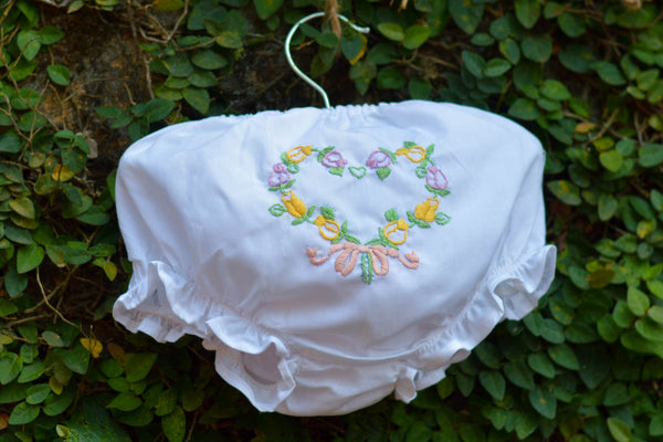 FLOWERY HEART WITH BOW DIAPER COVER