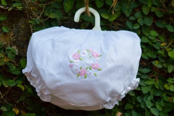 PINK N WHITE FLOWERS DIAPER COVER