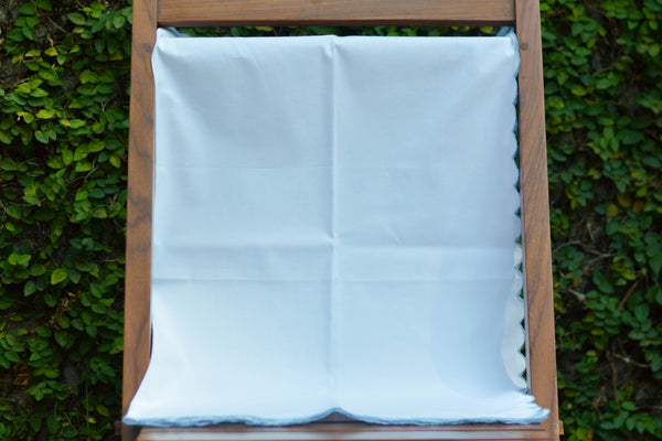 WHITE SHEET WITH BLUE CUTWORK