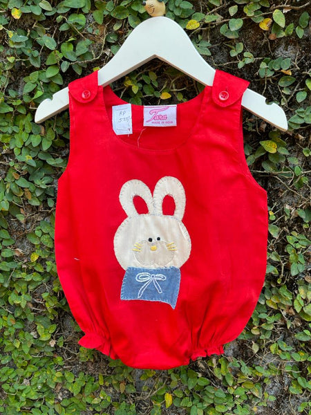 Denim Bunny Whiskers Appliquéd Romper