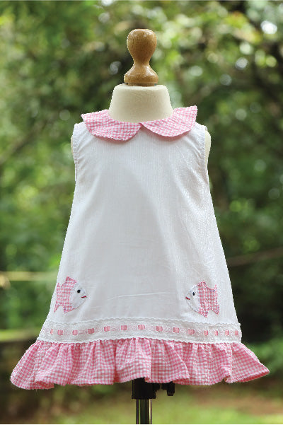 Frilled Cotton Dress with Checks