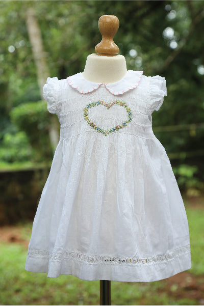 Cotton Green Dress with Net Lace Edging