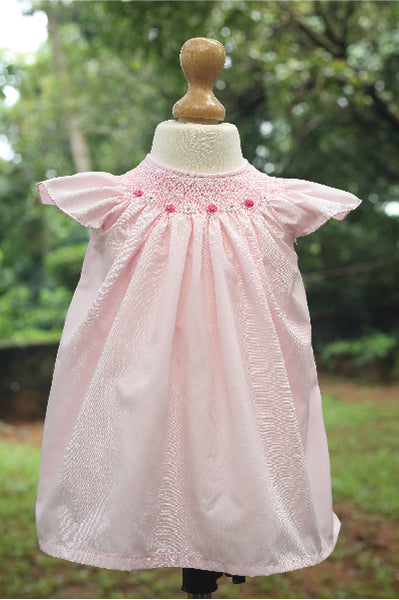 Baby Pink Blended Fabric with Bullion Roses