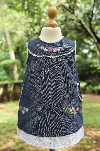 Hand Embroidered Hakoba Denim Dress