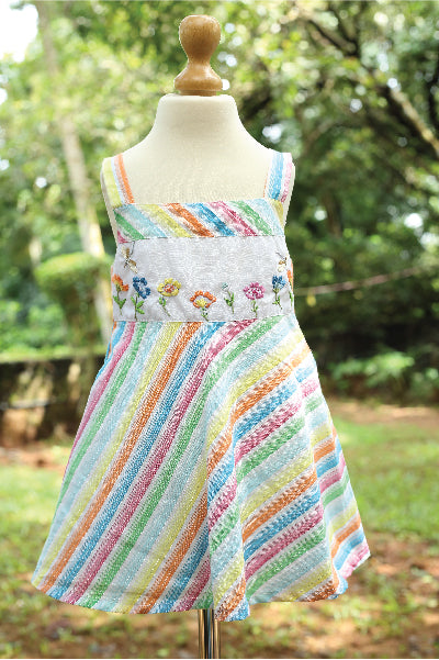 Multi Coloured Strappy Sleeved Cotton Dress