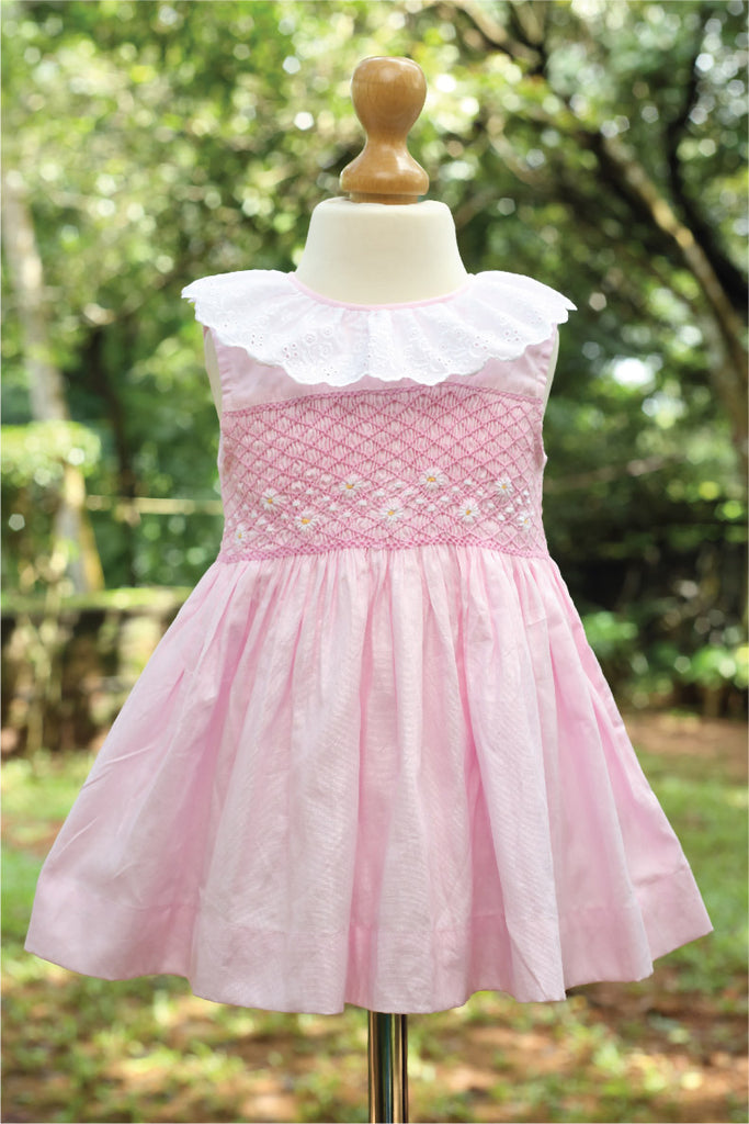 Smocked Cotton Dress with Eyelet Lace Collar