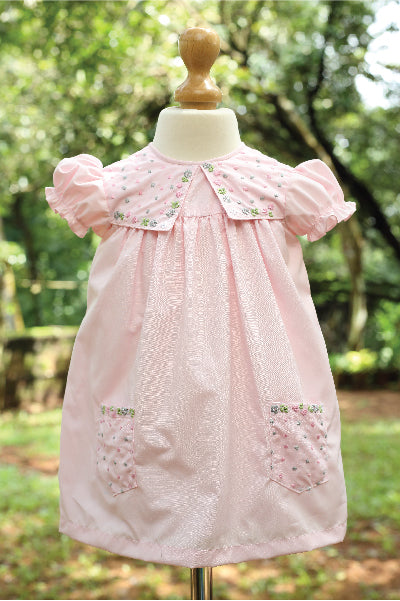 High Yoke Embroidered Fabric Pink Dress