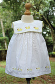 White Baby Dress with Applique Duck