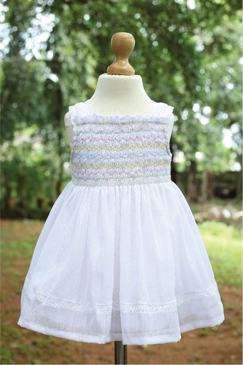 Multi Smocked Blended Fabric White Dress