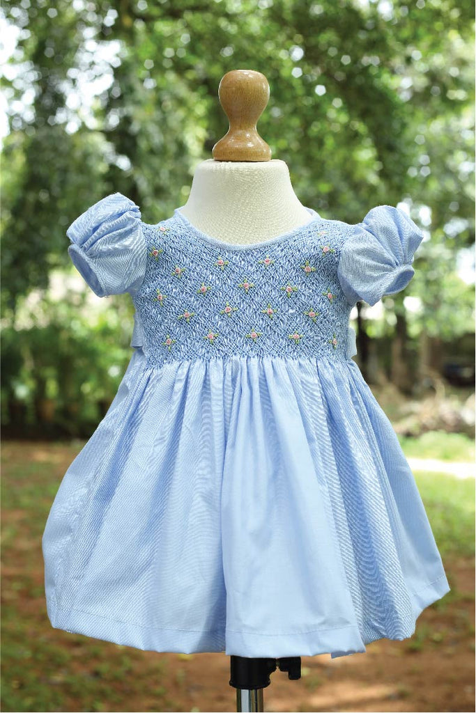 Full Yoke Smocked Dress with Bullion Flowers